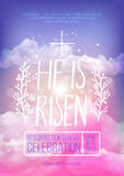 He is risen,  Easter religious poster template. With transparency and gradient mesh. Church invitation flyer,  illustration Royalty Free Stock Photos