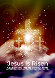 He is risen,  Easter religious poster template with transparency and gradient mesh. Jesus is risen,  Easter religious poster template with transparency and Stock Photography