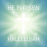 He is risen, Hallelujah. Easter background with white cross and sun rays and in the sky . Vector illustration Royalty Free Stock Image