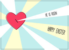 He is risen. Happy Easter card with pierced heart of Jesus Christ and rays Stock Photo