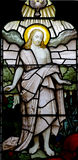 The risen Jesus Christ. A stained glass photo of The risen Jesus Christ Stock Photo