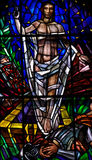 Risen Jesus Christ in stained glass Stock Images