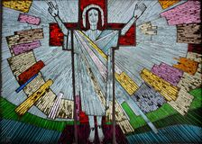 Risen Jesus colorful artwork in glass Stock Image