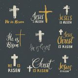 He is risen, lettering set religious signs with crucifix symbols. Hand drawn Christian cross, grunge textured retro badge, Vintage. Label, typography design Stock Image