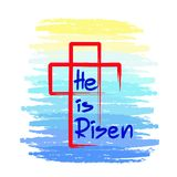He is risen - motivational quote lettering, religious poster. Print for poster, prayer book, church leaflet, Royalty Free Stock Photos