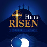 He is risen navy blue card. Easter christian motive,with text He is risen on on a background of rolled away from the tomb stone of Calvary Royalty Free Stock Photography