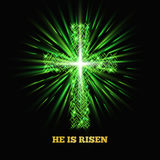 He is risen. Shining cross. Easter background. Vector illustration Stock Images