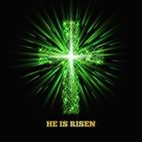 He is risen. Shining cross. Easter background. Vector illustration Stock Images