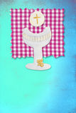 Riser chalice card, my first communion for girls. Vertical card first communion, cute chalice and wafer for girls Royalty Free Stock Image