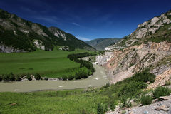 Riserva naturale di Biospheric dello stato di Altai, fiume di Chuya, Russia Fotografia Stock