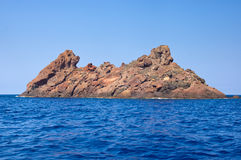 Riserva naturale di Scandola, sito del patrimonio mondiale dell'Unesco, Corsica, franco Fotografie Stock Libere da Diritti