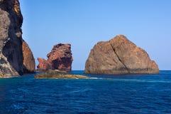 Riserva naturale di Scandola, sito del patrimonio mondiale dell'Unesco, Corsica, franco Immagini Stock