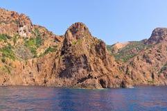 Riserva naturale di Scandola, sito del patrimonio mondiale dell'Unesco, Corsica, franco Immagine Stock
