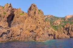 Riserva naturale di Scandola, sito del patrimonio mondiale dell'Unesco, Corsica, franco Immagine Stock Libera da Diritti