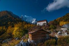 Riserva naturale di Yading, contea Sichuan Cina di Daocheng fotografie stock libere da diritti