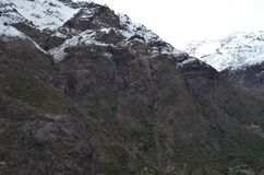 Riserva nazionale di RÃo Blanco, Cile centrale, un'alta valle di biodiversità nel Los le Ande Fotografie Stock