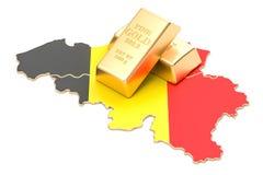 Riserve valutarie del concetto del Belgio, rappresentazione 3D Fotografia Stock