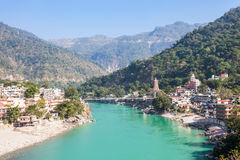 Rishikesh in India. Rishikesh aerial view, India. It is known as the Gateway to the Garhwal Himalayas and the Yoga Capital of the World Stock Image