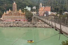 RISHIKESH, INDIA - JAN 03: Unidentified people rafting on Ganga Stock Image