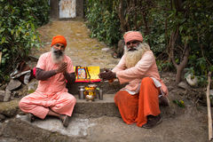 RISHIKESH, INDIA - JAN 03: Unidentified sadhu baba praying for t Royalty Free Stock Images