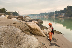 RISHIKESH, INDIA - JAN 03: An unidentified sadhu baba walking ne Stock Photos