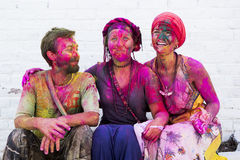 RISHIKESH, INDIA - MARCH 17, 2014 - people celebrating holi. royalty free stock photo