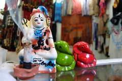 Statues of Lord Shiva and Ganesh on the street market in Rishikesh royalty free stock photo