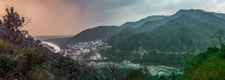 Rishikesh, India. View of the Tapovan neighborhood of Rishikesh, India. The town, situated in the Himalayan foothills, calls itself the yoga capital of the Stock Images