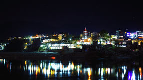 Rishikesh at night, view to Ganga river and city lights Stock Image