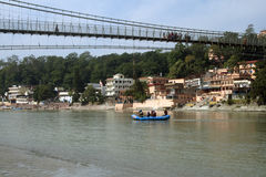 Rishikesh. Rafting and Ram Jhula at rishikesh Royalty Free Stock Photo