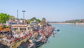 Rishikesh view from bridge Stock Photo