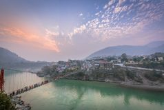 Rishikesh, Yogastadt Indien, Gange River Valley, Ganga, Uttarakhand stockfoto