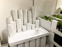 RISHON LE锡安,以色列2017年12月16日:花盆,在商店的架子的立场 免版税库存图片