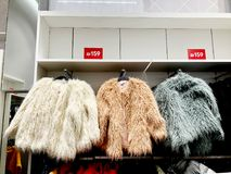 RISHON LE ZION, ΙΣΡΑΗΛ 17 ΔΕΚΕΜΒΡΊΟΥ 2017: Σύγχρονα ενδύματα σε ένα κατάστημα σε μια κρεμάστρα Στοκ Εικόνες