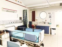 RISHON LE ZION, ΙΣΡΑΗΛ 21 ΜΑΡΤΊΟΥ 2018: Δωμάτιο νοσοκομείων με τα κρεβάτια σε ένα σύγχρονο νοσοκομείο Rishon LE Zion, Ισραήλ Στοκ Φωτογραφίες