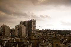 RISHON LE ZION, ISRAEL -APRIL 25, 2018: Dark clouds asperatus before the storm over the city.  Stock Image