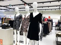 RISHON LE ZION, ISRAEL- DECEMBER 17, 2017: Clothes on a mannequins in a shop. Shopping mall. RISHON LE ZION, ISRAEL- DECEMBER 17, 2017: Clothes on a mannequins Royalty Free Stock Photos