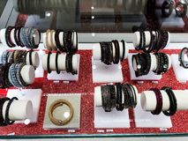 RISHON LE ZION, ISRAEL- DECEMBER 29, 2017: Inside the Department Store bracelets and ornaments for girls. RISHON LE ZION, ISRAEL- DECEMBER 29, 2017: Inside the royalty free stock photo