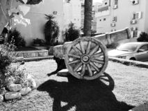RISHON LE ZION, ISRAEL  December 4, 2018: Sculpture of ancient cannon  on city street in Rishon Le Zion, Israel.  stock images