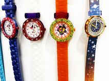 RISHON LE ZION, ISRAEL- DECEMBER 29, 2017: Watch clocks exposed in a store. Swatch is a Swiss watchmaker founded in 1983 by Nicolas Hayek royalty free stock photos