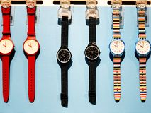 RISHON LE ZION, ISRAEL- DECEMBER 29, 2017: Watch clocks exposed in a store. Swatch is a Swiss watchmaker founded in 1983 by Nicolas Hayek stock photography