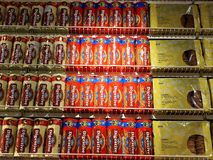 RISHON LE ZION, ISRAEL 16. DEZEMBER 2017: Verschiedene Marke von weichen Plätzchen in der Verpackung für Verkauf auf Supermarktst Stockfotos