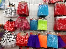 RISHON LE ZION, ISRAEL- FEBRUARY 2, 2018: Skirts for children in different colors are sold in the store for various holidays. RISHON LE ZION, ISRAEL- FEBRUARY 2 Royalty Free Stock Photography