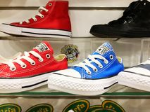 RISHON LE ZION, ISRAEL-  FEBRUARY 12, 2018: Sneakers in different colors sold in a luxury store.  Royalty Free Stock Photo