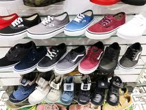 RISHON LE ZION, ISRAEL-  FEBRUARY 12, 2018: Sneakers in different colors sold in a luxury store.  Stock Photography