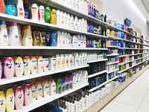 RISHON LE ZION, ISRAEL- JANUARY 3, 2018: Various brand of shampoo bottles for sale on supermarket in Rishon Le Zion Stock Photography