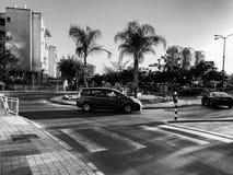 RISHON LE ZION, ISRAELE - 23 APRILE 2018: Rotonda con la piccola fontana sulla via con le palme in Rishon Le Zion, Israele immagini stock