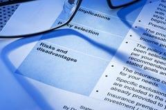 Risico Commerciële Polis Verklaringscontract Stock Afbeeldingen