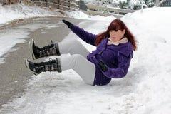 Risico van ongevallen in de winter Stock Foto's