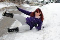 Risico van ongevallen in de winter Stock Fotografie